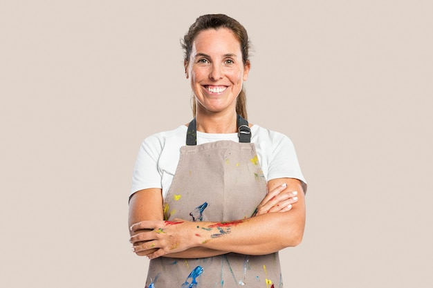 Female artist in an apron