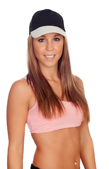 Female athlete with cap ready for sports