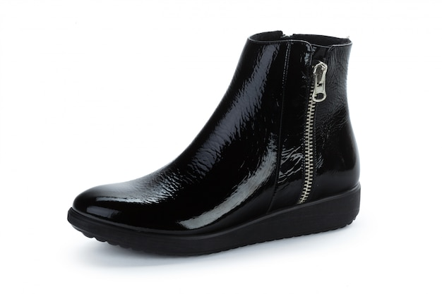 Female autumn-winter leather ankle  boots isolated