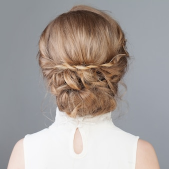 Female back bridal or prom hairstyle