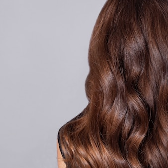 Female back with long curly brunette hair