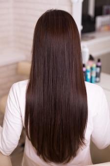 Female back with long straight brunette hair