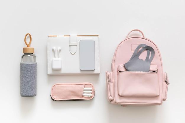 Женский рюкзак, канцелярская одежда, организация хранения студенческой сумки. вернуться к школьной концепции