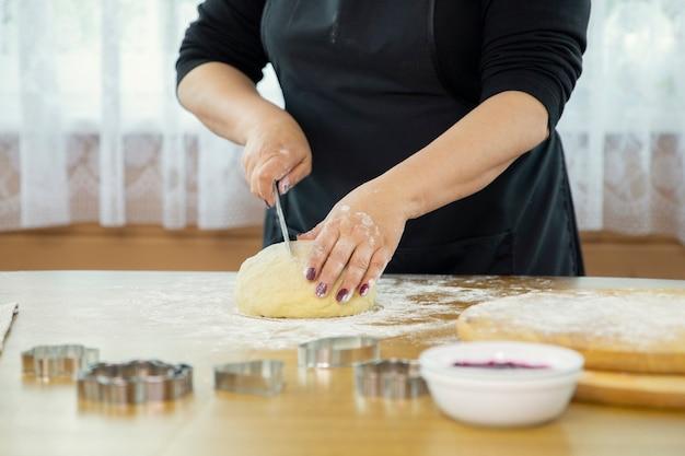 Female baker cooking bread