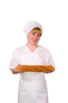 Женский пекарь с багетом, изолированные на белом фоне