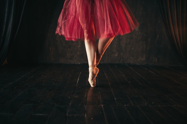 Pointes에서 여성 발레 댄서 다리