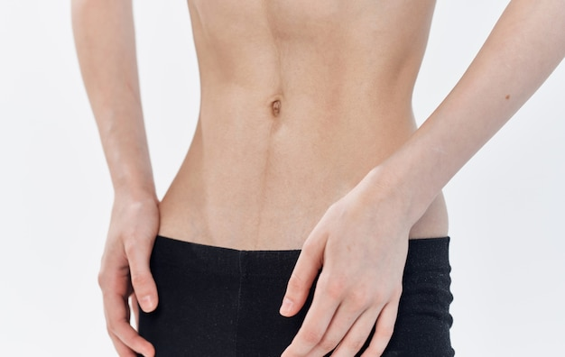 Female belly retraction slimming diet anorexia