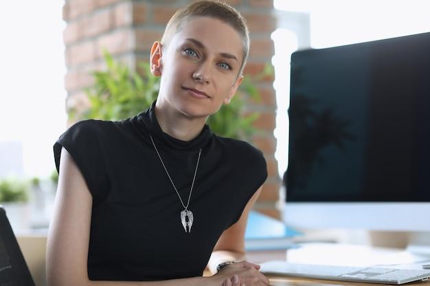 Женщина-босс сидит за столом в офисе. интерьер квартиры с рабочим местом фрилансера