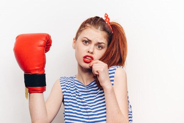 Female boxer boxing gloves