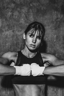 Female boxer at the gym