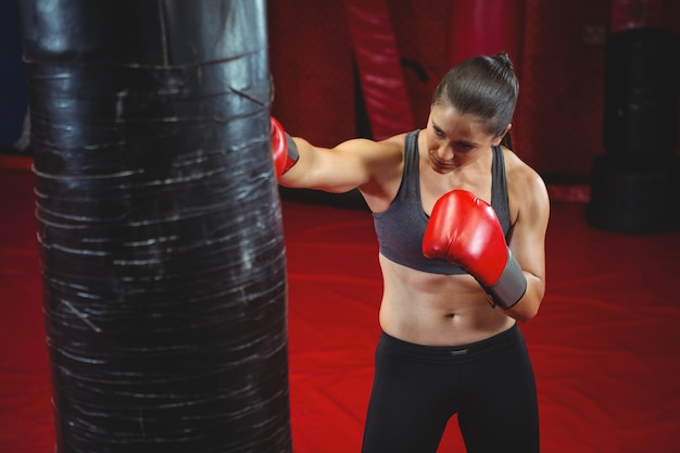 Pugile femminile che perfora un sacco da boxe