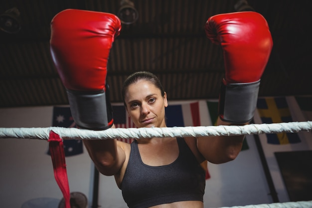 Female boxer with boxing gloves
