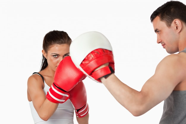 Female boxer with strong fighting spirit