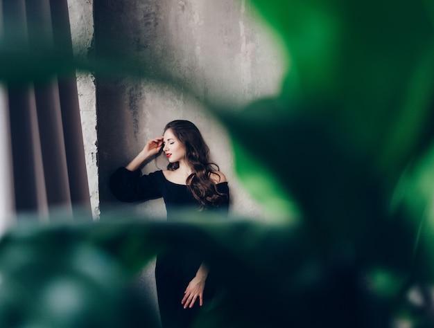 Female brunette model in studio