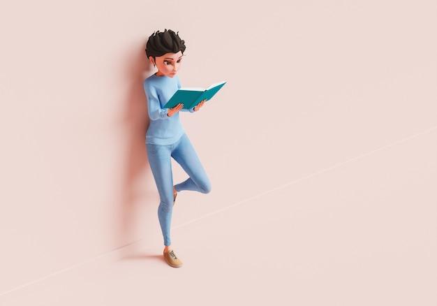 Женский персонаж читает книгу