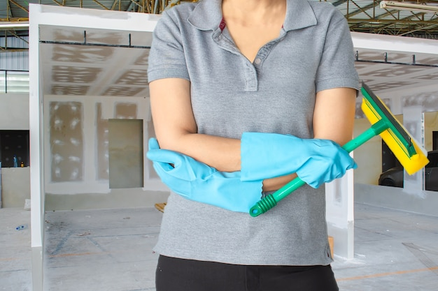 Female cleaning staff  bathroom blurry background metaphor for cleaning get rid of germs i
