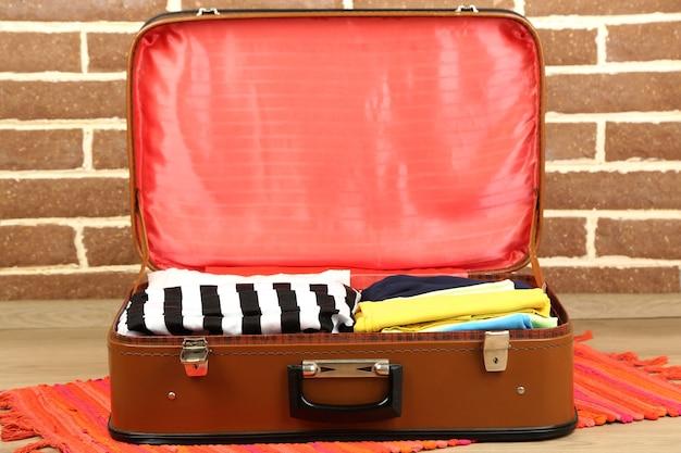 レンガの壁の背景に古いスーツケースの女性の服