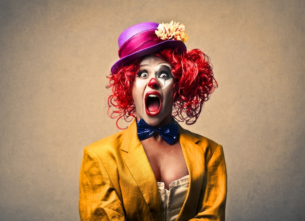 Female clown screaming