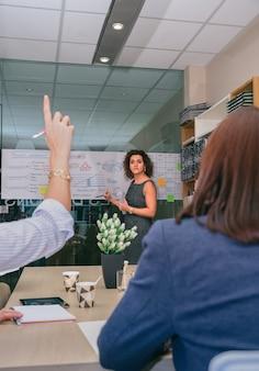 Женский тренер смотрит на женщину с указательным пальцем вверх, чтобы задать вопрос на деловой встрече