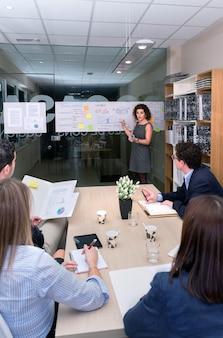 本社に書類を持ってテーブルに座っている女性コーチトレーニングビジネスチーム