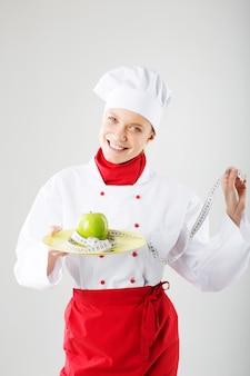 Женщина-повар. концепция диетического