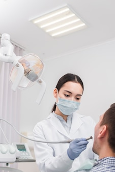 Female dentist with patient