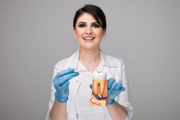 회색 배경에 도구가 있는 여성 치과 의사