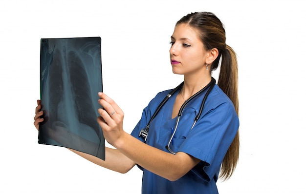 Female doctor examining a lung radiography