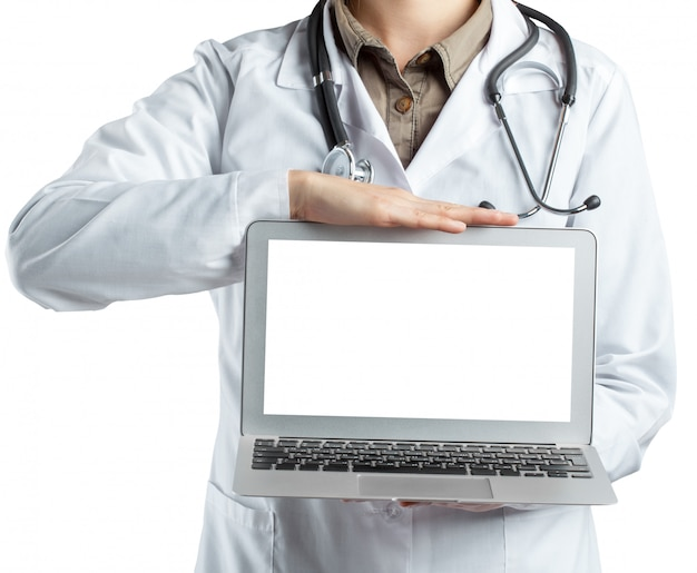 Female doctor holding a laptop, isolated on white background