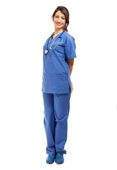 흰색 전체 길이에 고립 된 여성 의사