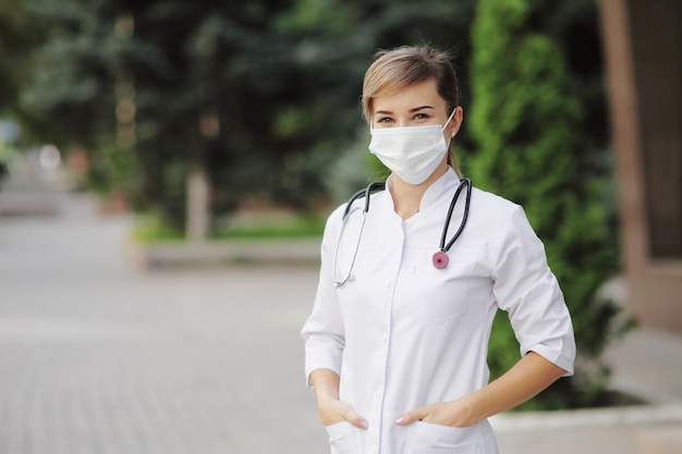 Female doctor or nurse wearing a face protective mask covid19 healthcare