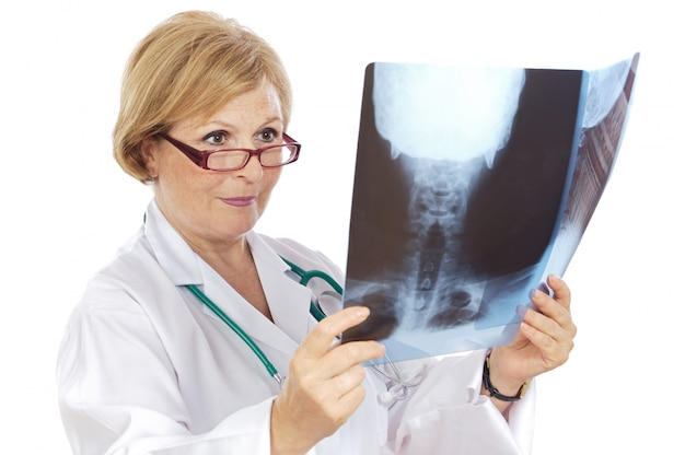 Female doctor radiologist a over white background