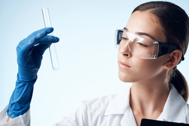 Female doctor science research experiments chemistry