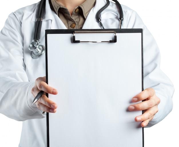 Female doctor in uniform holding clipboard