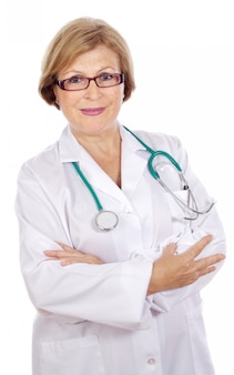 Female doctor in a white medical dressing gown  a over white background
