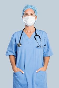 聴診器の肖像画を持つ女性医師