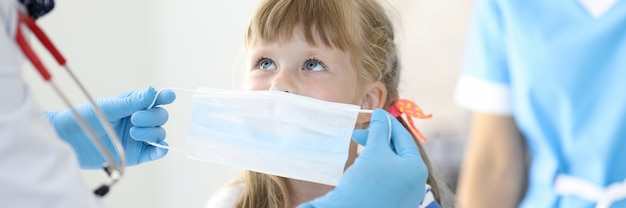 Female doctor with little child put on protective mask portrait