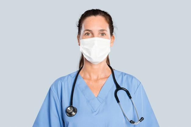 Dottoressa con un ritratto di stetoscopio