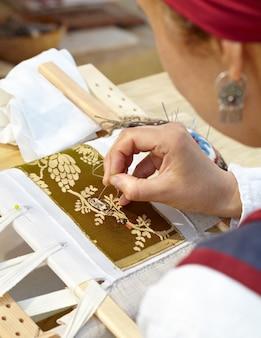 Female embroider