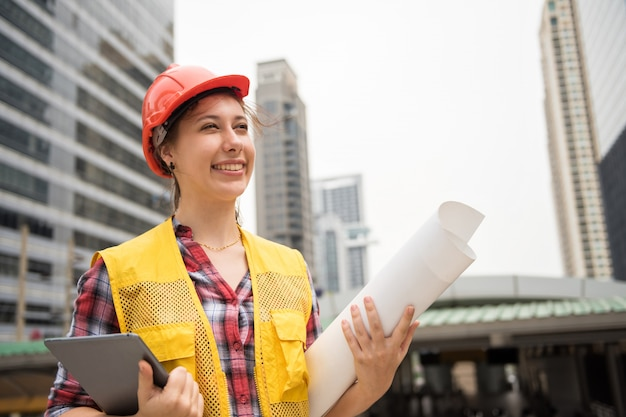 Female engineer at a construction site