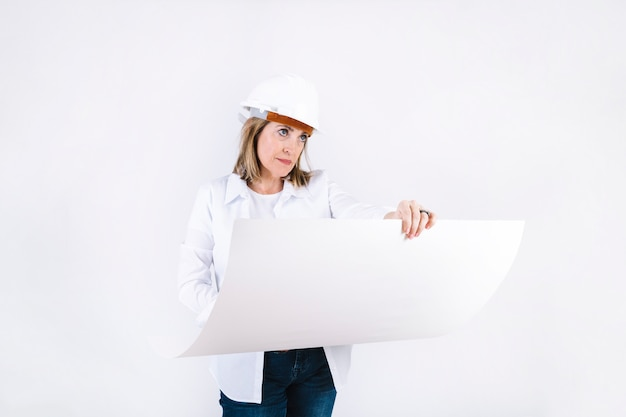 Female engineer with draft
