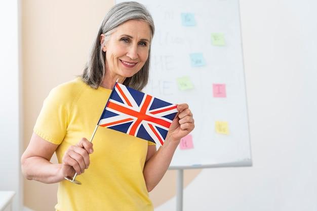 女性の英語教師の肖像画