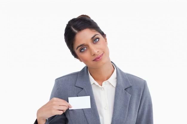 Женский предприниматель, указывая на знак имени