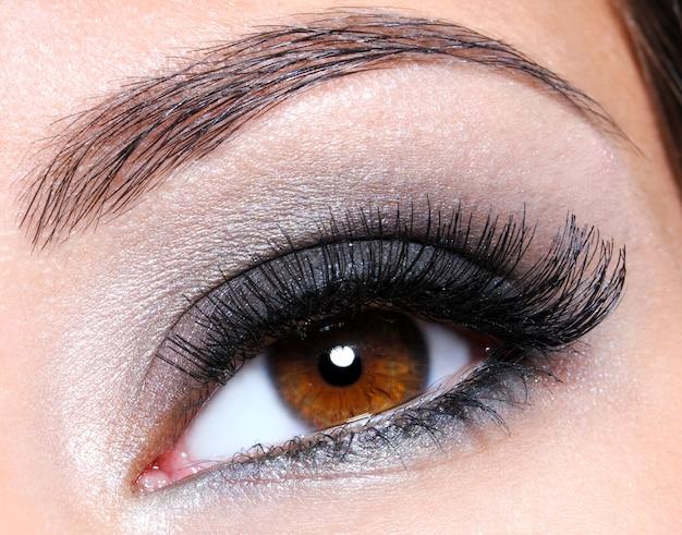 Occhio femminile con trucco glamour marrone scuro - colpo a macroistruzione