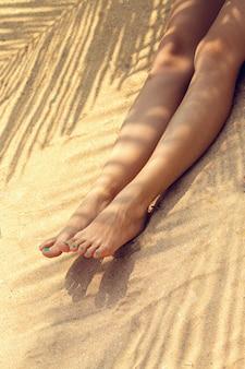 Женские ноги на песке под пальмой