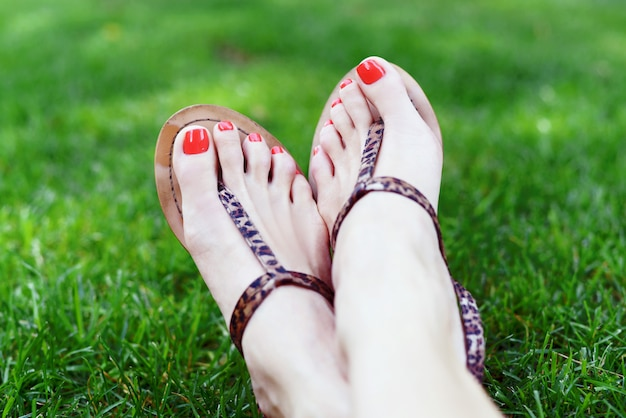 Female feet with red pedicure