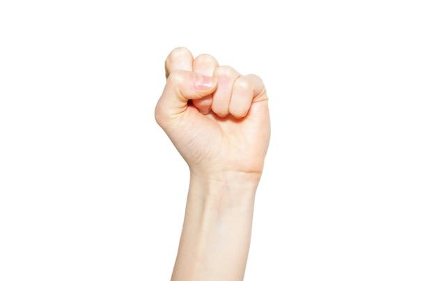 Женский кулак вверх изолированные
