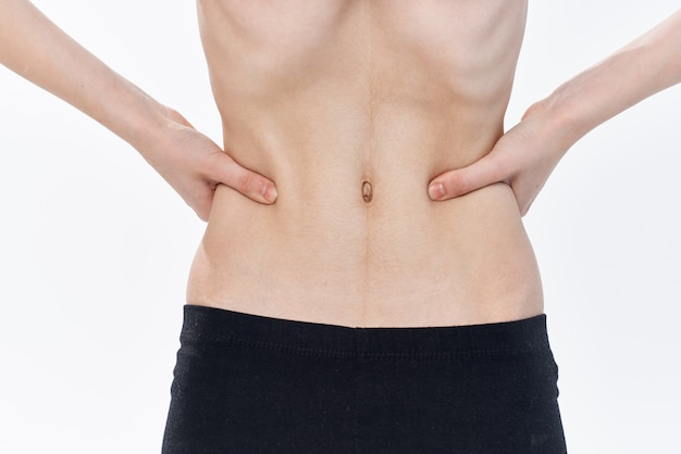 Female flat belly anorexia diet health problems