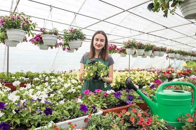 작업 바지의 여성 플로리스트는 온실에서 꽃을 돌 봅니다.