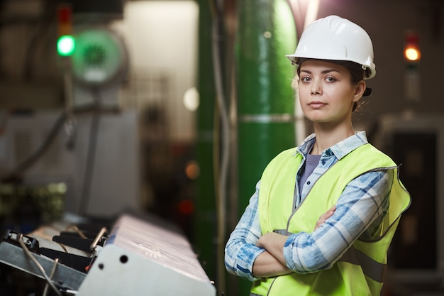 Female foreman in the plant
